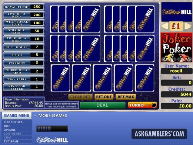 William Hill Joker Poker